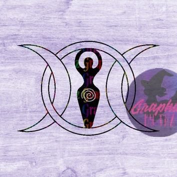 Interlocking Triple moon spiral goddess SVG cut file for Cricut and Silhouette cutting machines