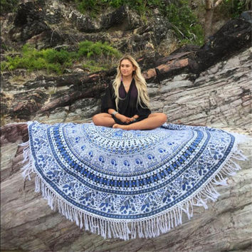 Round Hippie Tassel Tapestry Beach Throw Mandala Towel Mat Bohemian
