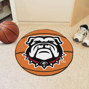 "Georgia Black New Bulldog Basketball Mat 27"" diameter"