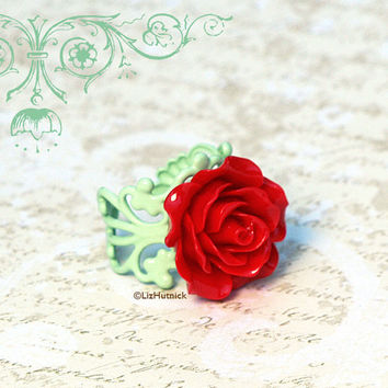 Cherry Rose and Mint Filigree Ring. Adjustable Ring. Cocktail Ring