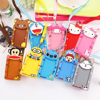 New Character Silicone card holder for Students portable cute cartoon String Metro ID bus card luggage card for girl boys PY021
