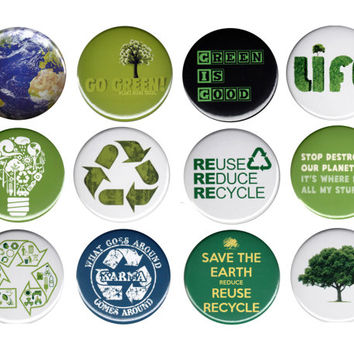 """Recycle Think Green Pack Of 12 Pinback Buttons Badges Pins Set 44mm 1.75"""""""