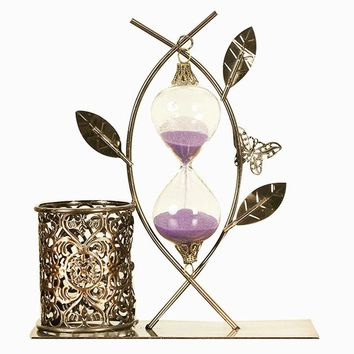 Creative Sand Hourglasses Timer Clock Timers Sandglass With Pen Holder Table Clock Decoration Exquisite Metal Decoration Crafts