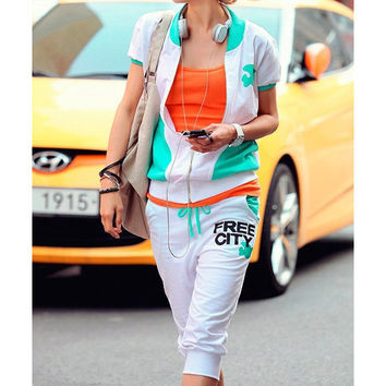 2 Pcs Short-sleeved Top and Pants Sweater Set