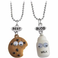 Miniature Cookies Biscuit Milk Pendant Necklaces BFF Friendship Creative Jewelry Christmas Gift