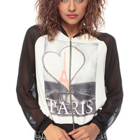 Paris Zip Up Woven Contrast Sweater