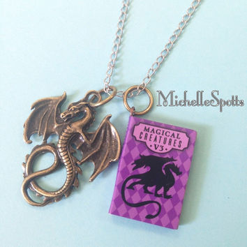 Harry Potter inspired Necklace Dragon Necklace Chain Book Necklace Dragons Pendants Books Charms Magical Creatures