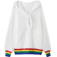 Fuzzy Rainbow Dream Sweater- White