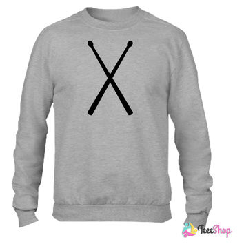 drums drummer drum sticks_ Crewneck sweatshirtt