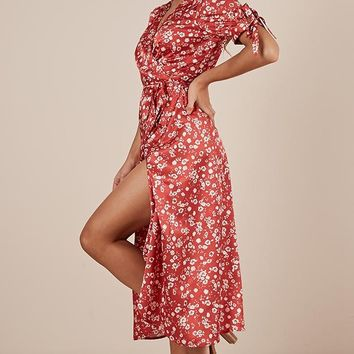 Golden Rule Dress in red floral satin Produced By SHOWPO