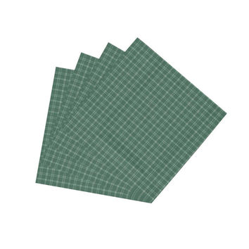 Green & White Plaid Napkin Set of 4