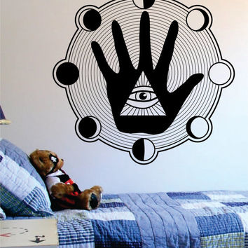 All Seeing Eye Hand Moon Phases Illuminati Design Decal Sticker Wall Vinyl Decor Art