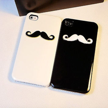 Handmde hard Case Cover with White Moustache in Black For iPhone 4, 4s, 5