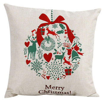 Vintage Christmas Santa Claus Sofa Bed Home Decor Pillow Case ML1046