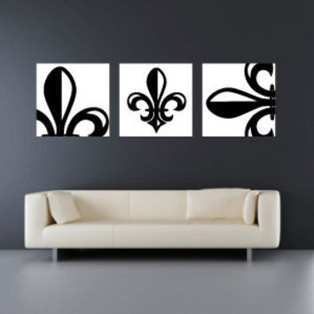 Set Of 3 10x10 Fleur De Lis Canvas Wraps   Home Decor   Wall Art