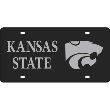 K-State Wildcats Black School Name, Logo Car Accessory License Plate - 8032011