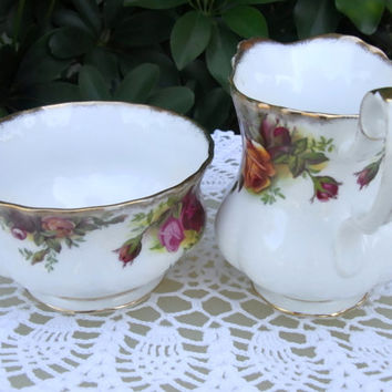 Vintage Royal Albert Old Country Roses Creamer and Open Sugar Bowl Vintage Bone China Made in England