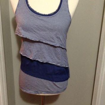 LAUREN CONRAD Tank Top Blue Striped Tiered Ruffle Racer Back nautical fringe XS