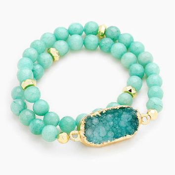 Gold & Turquoise Druzy Stone Accented Natural Stone Bead Strand Wrap Stretch Bracelet