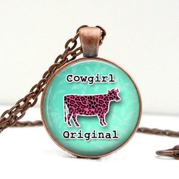 Cowgirl Original Necklace : Pink Cow Glass Picture Pendant Photo Pendant (2200)