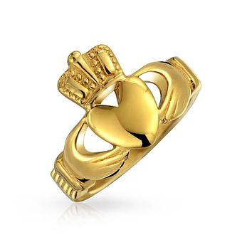 Celtic Irish Friendship Claddagh Ring 14K Gold Plate Stainless Steel