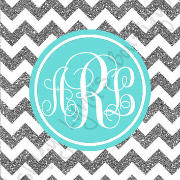iPhone Monogram Wallpaper Glitter and Blue Chevron