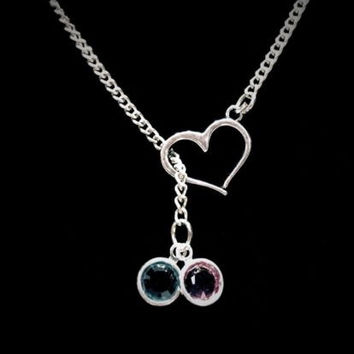 Birthstone Personalized Heart Mother's Day Gift Y Lariat Necklace