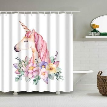 Colorful Cartoon Unicorn Flamingos Waterproof Shower Curtains Polyester Fabric High Quality Mildew Resistant Bathroom Curtains