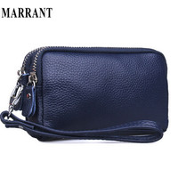new fashion women purse 100% Genuine leather wallet  lady clutch bag real cowskin leather wallets double zipper small clutch bag