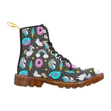 Happy Unicorn With Cats And Donuts Pattern custom Women's Boot