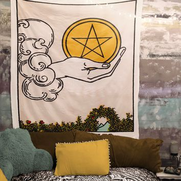Ace of Pentacles Tarot Card Tapestry - Rider Waite Ace of Pentacles Tapestry