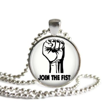 The Office The Fist 1 Inch Silver Plated Pendant Necklace Handmade