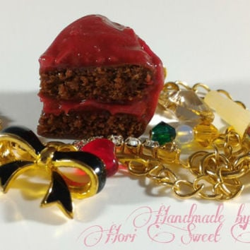 Red Frosted Chocolate Cake Phone Charm, Kawaii Phone Strap or Dust Plug, Oshare Kei Accessories, Kawaii Polymer Clay Stuff, Decoden, Lolita