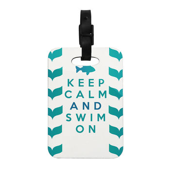"Nick Atkinson ""Keep Calm and Swim On"" Teal White Decorative Luggage Tag"