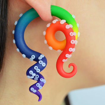 Rainbow Tentacle Ear Plugs and Fake Gauge Earrings - Fake Plugs, Faux Gauges, Rainbow Earrings, Tentacle earrings, Rainbow Octopus Gauges