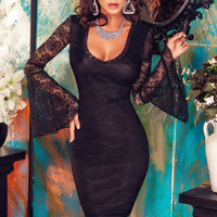 Black Lace Bell Sleeves Chained Scoop Back  Dress
