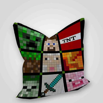 Minecraft Quilt All Face, pillow case, pillow cover, cute and awesome pillow covers