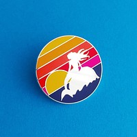 Mermaid Sunset Round Enamel Pin in Multicolor Twilight