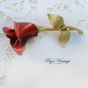 Vintage Red Enamel Rose Bud Brooch/Pin, Vintage Bridal Flower Gold Tone Jewelry