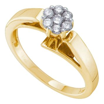 14kt Yellow Gold Womens Round Diamond Flower Cluster Ring 1/4 Cttw