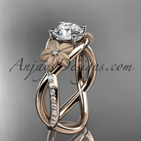 14kt rose gold diamond leaf and vine wedding ring, engagement ring ADLR90