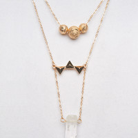 Dainty Layered Crystal Necklace | Wet Seal