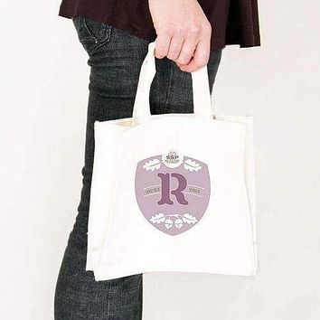 Acorn Monogram Personalized Tote Bag Tote Bag with Gussets Victorian Purple (Pack of 1)