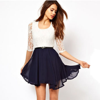 Lace Top Chiffon Dress with Belt