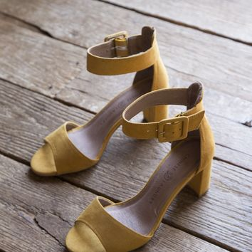 Rumor Micro-Suede Block Heels, Yellow | Chinese Laundry