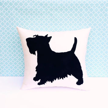 Scottish Terrier Throw Pillow, Dog Silhouette, Decorative Pillow, Home, Dog Pillow, Dorm Decor, Christmas Gift, Gift for Her, Gift for Mom
