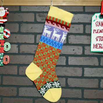 Hand Knit Christmas Stocking with Yellow Cuff, Off-White Reindeer and Snowflakes, Fair Isle Knit, colorful stocking, can be Personalized