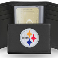 NFL Pittsburgh Steelers Black Embroidered Tri-Fold Wallet