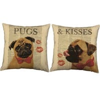 Pugs and Kisses Throw Pillows