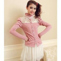 Women Autumn New Style Korean Sweet Princess Stand Collar Pink Cotton Short Coat S/M/L @WH0399p $18.66 only in eFexcity.com.